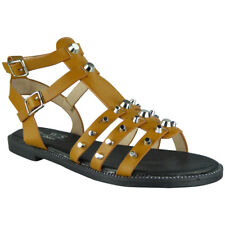 Womens Studded Gladiator Sandals Ladies Strappy Buckle Flats Low Heel Shoes Size