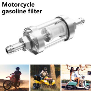 Universal Petrol Large Inline Fuel Filter Dirt Motorcycle Part Fit 8mm Pipes Uk