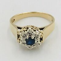 Vintage 9ct Yellow Gold Sapphire & Diamond Flower Shaped Ring Sz P # 516