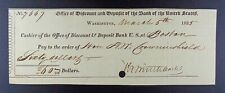 1825 (Second) Bank of the United States at Boston $60.00 Bank Check.