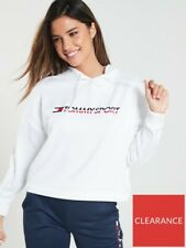 BNWOT Tommy Hilfiger Sport Hoodie Cropped Vertical Logo - White Size S