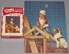 """Vintage Perfect Picture Jigsaw Puzzle """"Young Homesteaders"""" Boy Dog Builders Cib"""