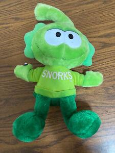 "~Vintage 1985 Applause Tag Green SNORKS Plush Toy Stuffed Animal 18"""
