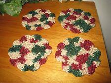 HAND CROCHETED COASTERS - CARON CHRISTMAS GLITTER YARN/SET OF 4 ROUND