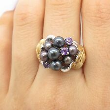 925 Sterling Silver 2 Tone Real Black Pearl Amethyst Gemstone Floral Ring 7 1/4