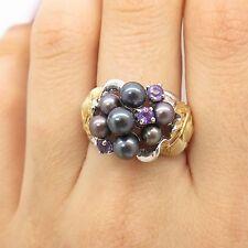 925 Sterling Silver 2 Tone Real Black Pearl Amethyst Gemstone Floral Ring 7 1/4