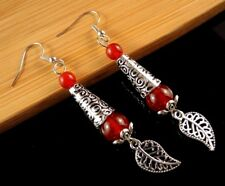Natural Red Carnelian Gemstone Dangle Earrings with Tibetan Style Leaf # B128