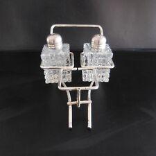 Service sel poivre art-déco verre métal argenté vintage collection