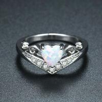 925 Silver Heart Cut White Fire Opal Engagement Ring Womens Zircon Wedding Band