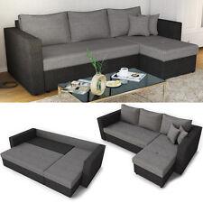 Ecksofa mit Schlaffunktion Grau Schwarz - Schlafsofa Bett Funktion Eck Couch