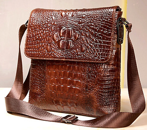 Men Vintage Crocodile Pattern Genuine Leather Messenger Shoulder Crossbody Bag