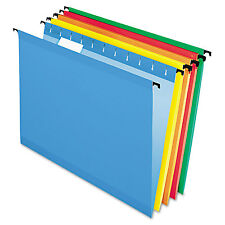 Pendaflex Poly Laminate Hanging Folders Letter 1/5 Tab Assorted 20/Box