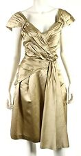 PRADA Champagne Satin Pleated Sash Detail Cap-Sleeve Cocktail Dress 46