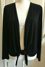 CHICOS Womens Cardigan SWEATER Long Sleeve BLACK Tie Front Size 2 (L/12)