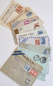 Argentina Stamps Covers to Europe Many 1920's, Censor, Postal History Lot of 9