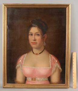 1812 Antique Ethan Allen Greenwood American Portrait Oil Painting Wealthy Woman