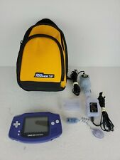 Nintendo Game Boy Advance Purple With Power Adapters and Light and Bag. TESTED