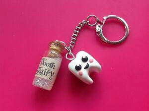 keyring Tooth Fairy Handmade Glitter Cute Gift Sweet Retro dentist gift ideas