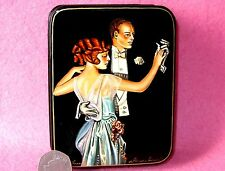 Russian J.C. Leyendecker hand painted LACQUER Box DANCE couple Lady & Gentleman