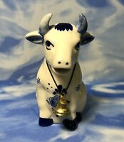 NEW Vintage Delft Blue Hand Painted Cow Creamer Bell, Windmill, Flowers HOLLAND