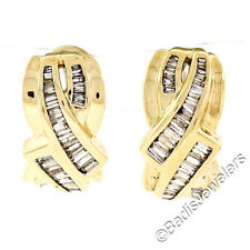 Solid 14K Yellow Gold 1.5ctw Baguette Channel Diamond Bypass Cuff Omega Earrings