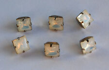 VINTAGE SQUARE FACETED GLASS BUTTONS SILVER SETTINGS • 8mm • Assorted Colors