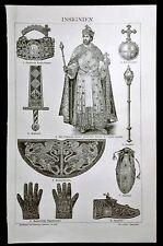 1894.Stampa Xilografica Originale:INSIGNIA DELL' IMPERO GERMANICO Brockhaus