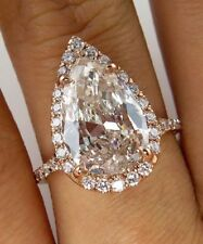STUNNING 4.50 CT T.W. PEAR SHAPE HALO ENGAGEMENT RING SOLID 10K ROSE GOLD WOMEN