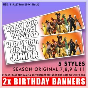 """FORTNITE BIRTHDAY BANNER PERSONALISED MULTI x2 36 """"x 11"""" - ANY NAME, ANY AGE"""