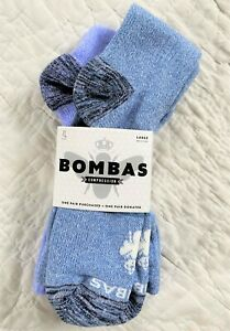 2 Pair NEW Bombas COMPRESSION Socks Calf Length Blue Periwinkle LARGE 15-20 mmHG