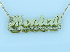 PERSONALIZED  14K GP 3D DOUBLE PLATED SCRIPT NAME PLATE NECKLACE GIFT Monica