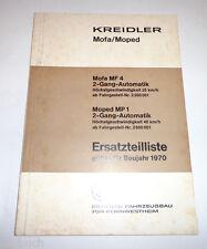 Ersatzteilliste Kreidler Mofa MF 4 2-Gang / Moped MP 1 2-Gang 1970