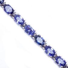 """10 CARAT BEST SELLER! OVAL CUT TANZANITE .925 Sterling Silver Bracelet 7"""""""