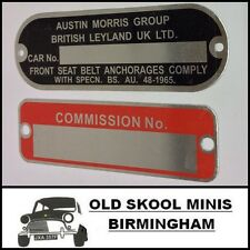 Classic Mini Chasis y placa de Comisión Leyland BMC Austin Morris Cooper S 5J6