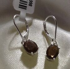 3.75 Ct, Natural, Chocolate, Sapphire Earrings, Lever Back, Sterling Silver