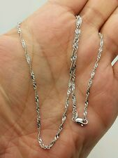 "14k Solid White Gold Diamond Cut Singapore Twist Necklace Chain 20"" 1.7mm"