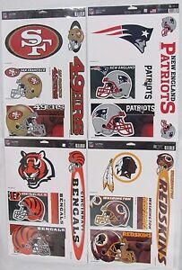 """NFL 11"""" x 17"""" Ultra Decals Set of 5 By WINCRAFT -Select- Team Below"""