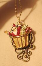 Striking Sculpted Santa Claus in Hot Air Balloon Basket Goldtn Tendrils Necklace