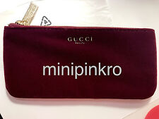 Gucci Beauty Cosmetic Pouch Makeup Bag Velvet Cosmetic Case Clutch Burgundy Red