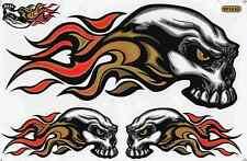 "D234 SKULL Flames Racing Tuning Sticker Decal 1 Sheet 10,5""x7"" / 27x18 cm"