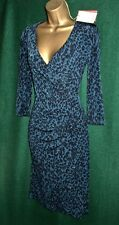 Monsoon Teal Blue Josie Animal Print Knee Length Jersey Day-to-evening Dress UK 18