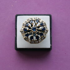 Beautiful 925 Silver Ring With Sapphire And White Topaz 2.6 Cm Wide size R12