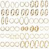 18K Gold Plated Stainless Steel Women Hoop Earrings Elegant Wedding Jewelry Gift