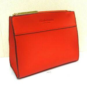 Elizabeth Arden Red Soft Faux Leather Make Up Pouch - New