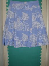 Ladies Size 18 Light Blue Leafy Linen Blend Flared Skirt by Papaya