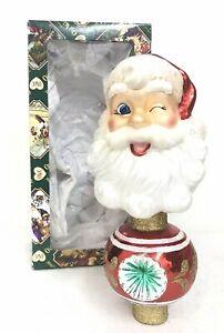 "Old World Christmas Glass Ornament Tree Topper 2009 Santa Reflector 8.5"" CO-11"