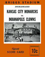 """Negro League Poster of Score Card Monarchs vs Clowns (1953) 8"""" x 10"""" Photo"""
