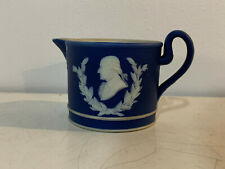 Vintage Antique English Wedgwood Blue Jasperware George Washington Creamer Dish