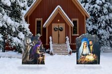 Christmas Nativity & Three Wise Men Set Outdoor Plastic Yard Standee Party Decor