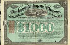USA CINCINNATI LAFAYETTE AND CHICAGO RAILROAD 1871  bond/stock certificate